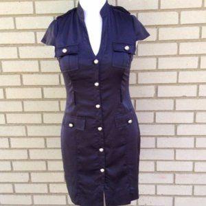 Express Navy Blue Cap Military Sleeve Career Dress